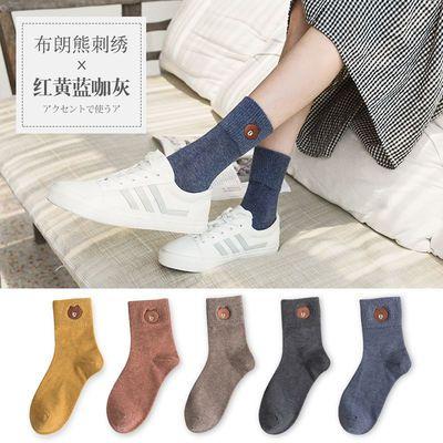 5双礼盒装 袜子女韩版中筒刺绣百搭学院风潮流秋冬季卡通精梳棉袜