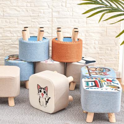 布艺小凳子家用小板凳实木成人换鞋凳脚踏沙发凳儿童凳子蘑菇圆凳