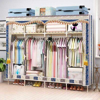 衣柜简易布衣柜实木加固橱子牛津布艺双人简约现代经济型收纳组装
