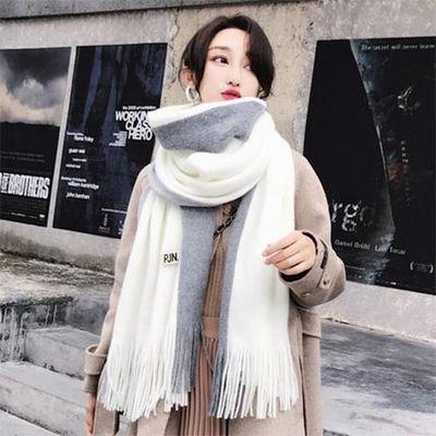 围巾女冬季韩版百搭长款加厚保暖围脖仿羊绒针织毛线围巾女学生