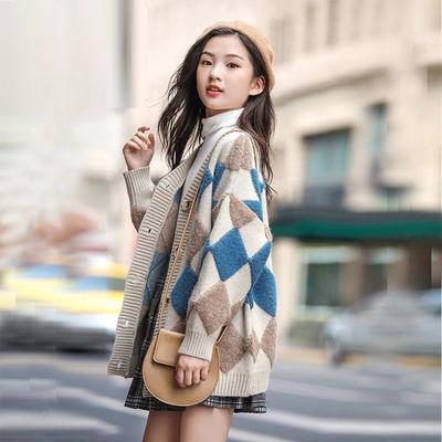 宝宝女童针织开衫秋冬装洋气时髦秋季中大童儿童装毛衣外套孩长款
