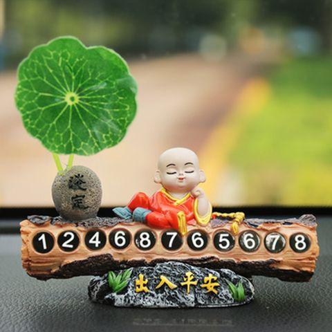 75679-创意小和尚临时停车牌移车电话号码牌车内装饰高档挪车牌汽车用品-详情图