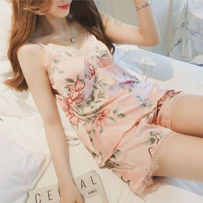 两件套睡衣女秋季冰丝长裤性感韩版吊带睡衣套装宽松款长袖家居服