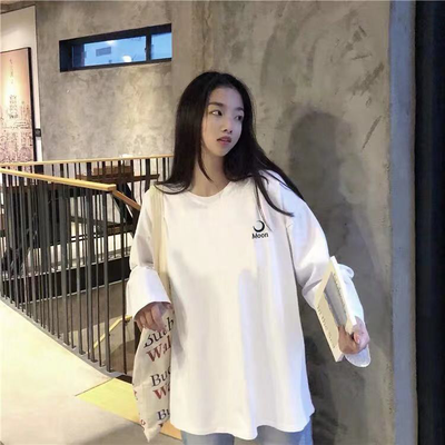 2019秋季新款韩版刺绣白色T恤女学生宽松ins原宿风百搭长袖上衣潮