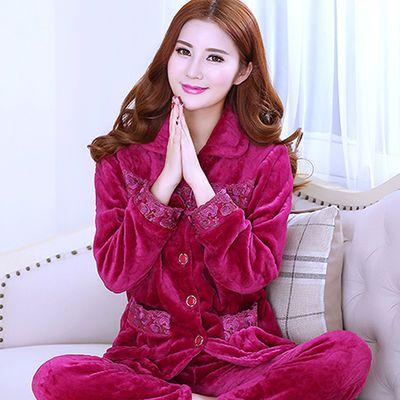 冬季睡衣女珊瑚绒加厚女士法兰绒套装长袖大码中老年冬天家居服