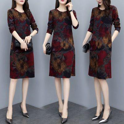 妈妈装秋季新款阔太太连衣裙长袖气质高贵遮肚洋气中长款打底衫