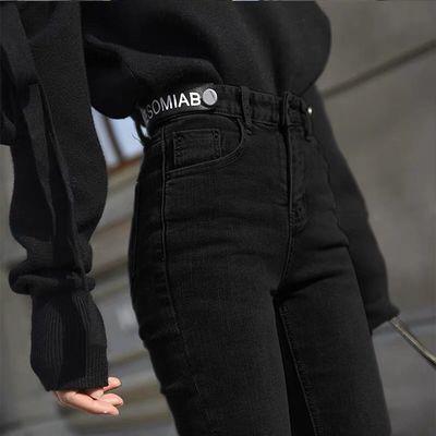 春季泫雅网红黑色高弹高腰九分牛仔裤女小脚裤修身显瘦铅笔长裤子