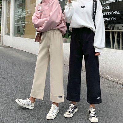 毛呢裤子女学生韩版宽松阔腿裤高腰秋冬季百搭九分加厚休闲裤2020