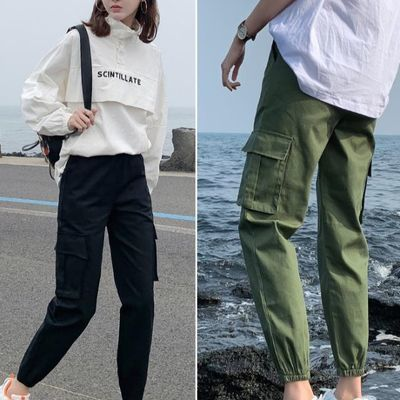 2019新款cargo工装裤宽松bf女显瘦休闲束脚高腰秋帅气军绿色收脚