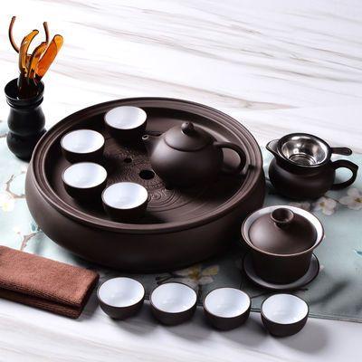 紫砂功夫茶具套装茶杯茶壶茶盘整套陶瓷茶具圆形茶洗蓄水家用茶器