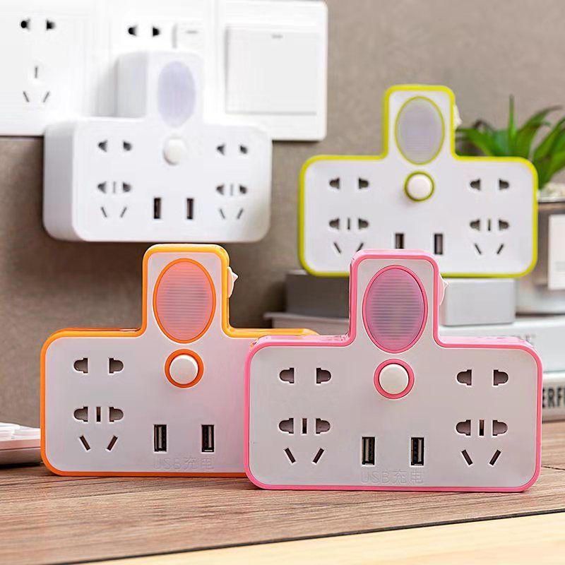 【鼠年插座】转换器USB 插排一转二三四多孔多功能带夜灯转换插头