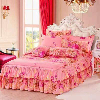 新款加厚磨毛床裙四件套被套防滑床罩像全棉纯棉婚庆双人床上用品