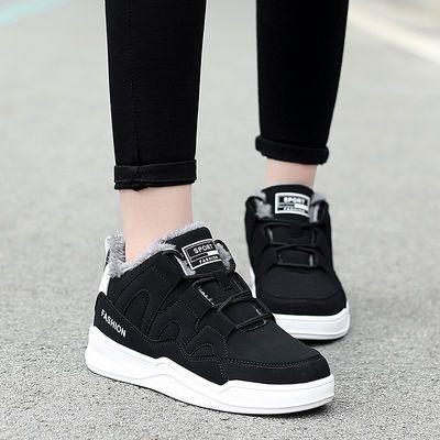 冬季加绒保暖大码运动鞋女休闲鞋41-43宽肥脚42女士黑色棉鞋40 44
