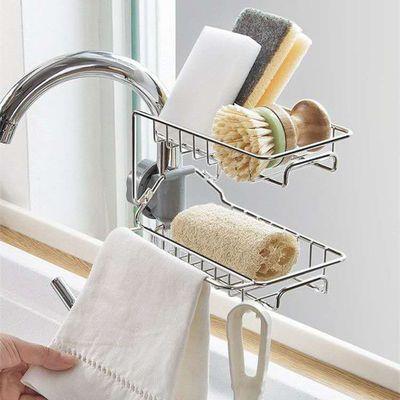 厨房沥水置物架浴室水龙头架子水池抹布收纳架不锈钢洗碗布整理架