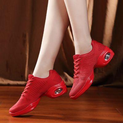 广场舞鞋水兵爵士网面舞蹈鞋女鬼步红色广场舞跳舞女鞋软底