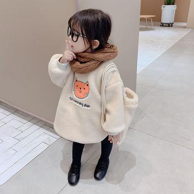 女童2019秋冬新款童装中小童宝宝洋气卡通卫衣儿童潮款打底衫上衣