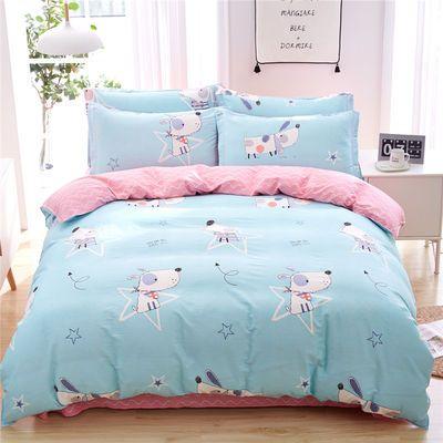 全棉斜纹四件套100%纯棉四4件套床上用品单双人床单款被套三件套