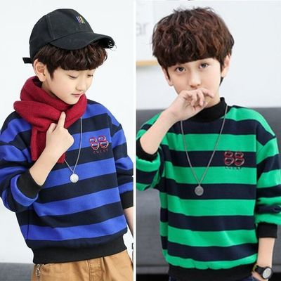 单两件童装卫衣男童秋冬时尚洋帅气保暖儿童男孩中大童加绒打底衫