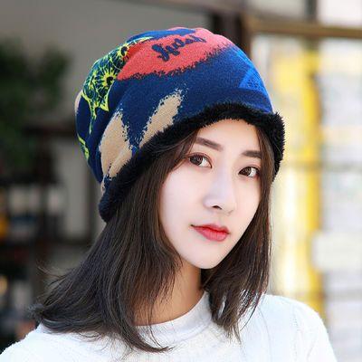 【加厚款】帽子+围脖两用帽子女秋冬季包头帽韩版套头帽 休闲围脖