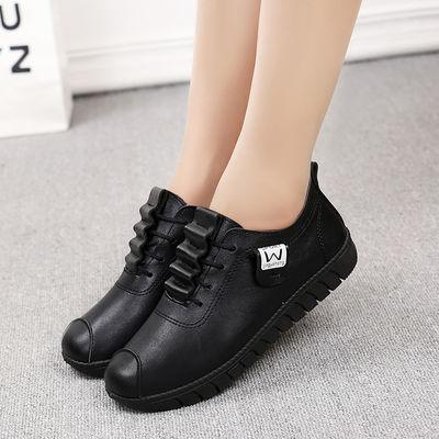 2019女鞋秋冬季新款棉鞋软底皮鞋平跟休闲女士单鞋舒适平底妈妈