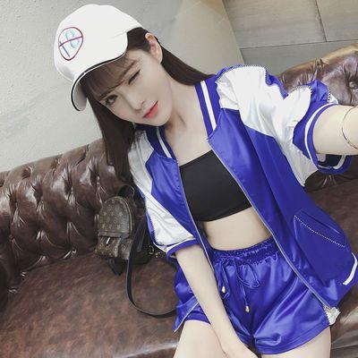 春秋韩版棒球服外套休闲运动薄款套装短裤性感两件套女学生潮实拍