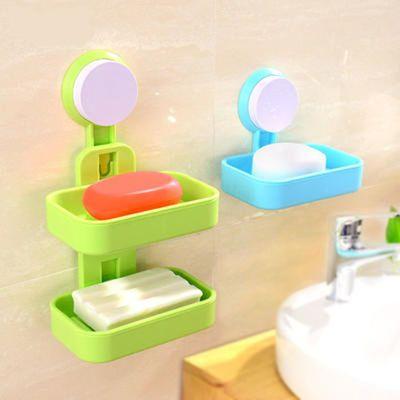 【双层单层颜色可选】沥水肥皂盒强力吸盘滤水香皂盒浴室皂托