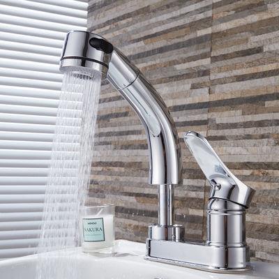 抽拉式洗脸盆冷热水龙头洗手池双孔三孔老式面盆伸缩洗手间卫生间