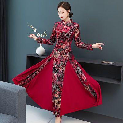 2020春装新款高贵气质妈妈礼服长款印花宴会婚宴连衣裙
