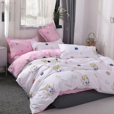 卡通美少女战士四件套床上用品被罩床单人学生宿舍上下铺4三件套【3月2日发完】