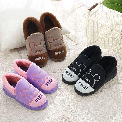 秋冬季情侣棉拖鞋女可爱韩版家居室内包跟保暖毛毛拖鞋男士棉拖鞋
