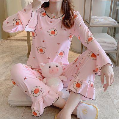 睡衣女夏秋季新款牛奶丝两件套韩版学生可爱长袖家居服可外穿套装