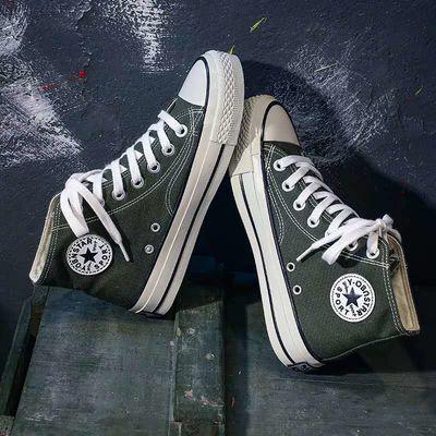 高帮鞋平底小白鞋帆布鞋女人本帆布鞋女内增高橙色童鞋透气橄榄绿主图