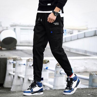 黑色九分工装裤男士学生韩版修身青少年休闲裤潮男装小脚哈伦裤男