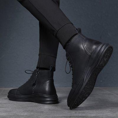 高帮鞋男秋季英伦潮鞋百搭中帮真皮短靴内增高休闲皮鞋男士马丁靴