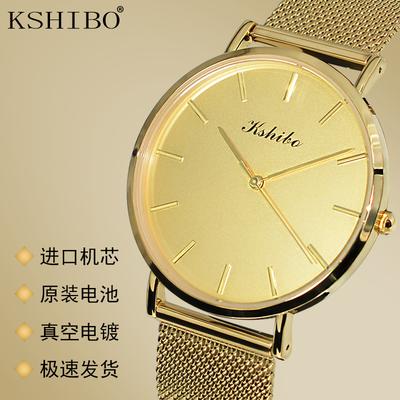 欧式金色手表男表时尚简约潮流大表盘女士超薄防水钢带男士石英表