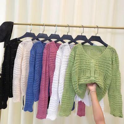 韩版宽松针织衫短款毛衣女长袖网洞秋季上衣抽绳镂空V领罩衫薄款