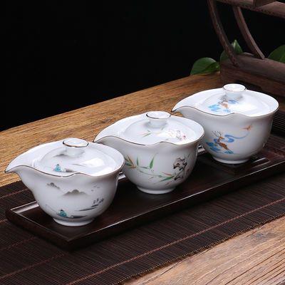 白瓷普洱茶壶陶瓷盖碗茶杯大号家用简约功夫茶具套装手抓壶三才碗