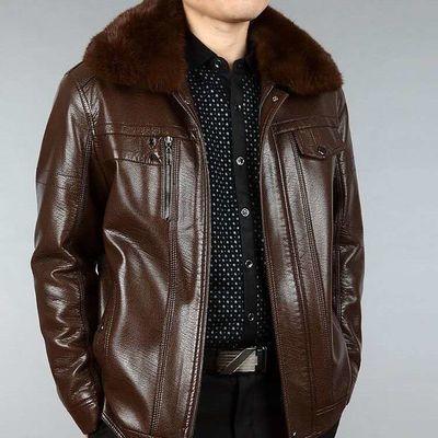 中老年皮衣男爸爸装男士冬季外套宽松加绒加厚中年老爸男装皮夹克