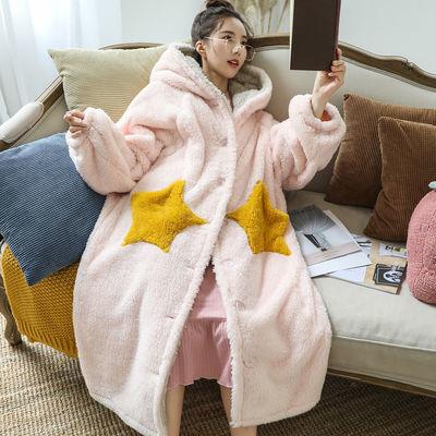 睡衣女秋冬季珊瑚绒星星长款可外穿法兰绒大码睡袍女冬睡裙家居服