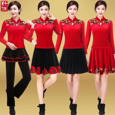 纤伽广场舞服装套装秋冬季长袖新款金丝绒中老年跳舞蹈衣服裙子女