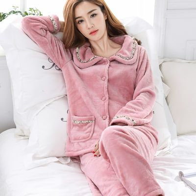 秋冬季珊瑚绒睡衣女士加绒加厚保暖甜美时尚长袖法兰绒春秋家居服
