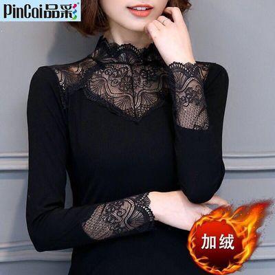 【单款/加绒 】秋冬保暖蕾丝打底衫大码女装长袖高领弹力T恤