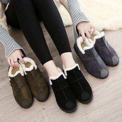 冬季加绒棉鞋女韩版百搭马丁靴女豆豆鞋保暖女棉鞋平底裸色短靴子