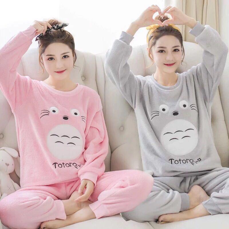 睡衣女秋冬季学生珊瑚绒韩版清新甜美可爱学生法兰绒家居服女套装
