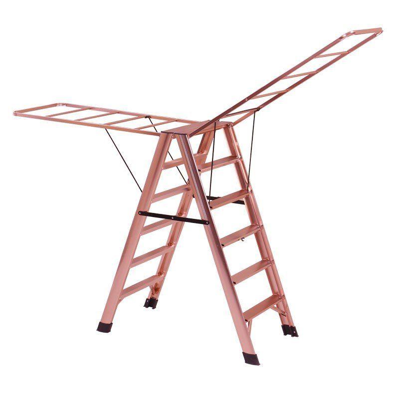 家用多功能折叠室内铝合金人字伸缩楼梯四五步梯子晾衣架加厚防滑