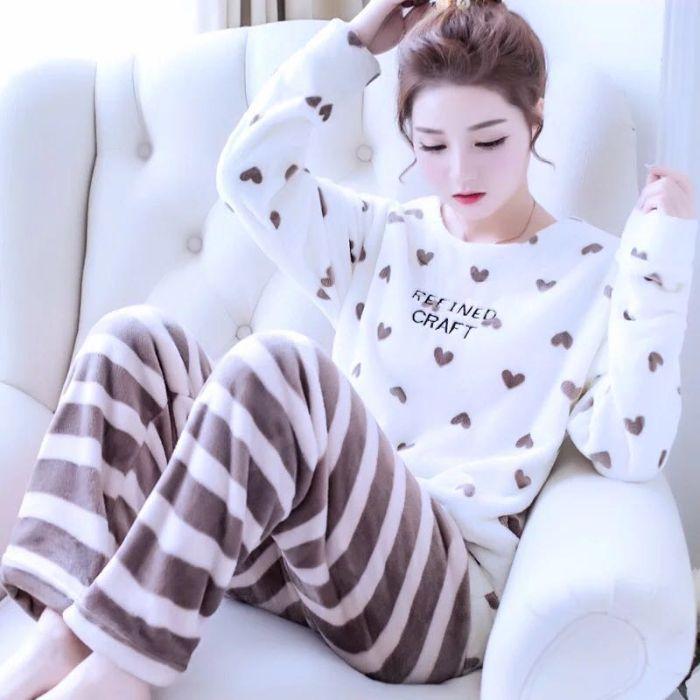 睡衣女冬珊瑚绒睡衣女秋长袖法兰绒可爱桃心加厚保暖家居服套装