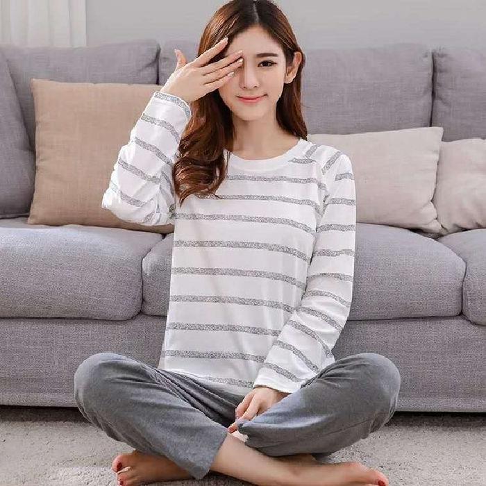 两件套长袖睡衣多款韩版可爱家居服女士宽松薄款秋季套头家居服