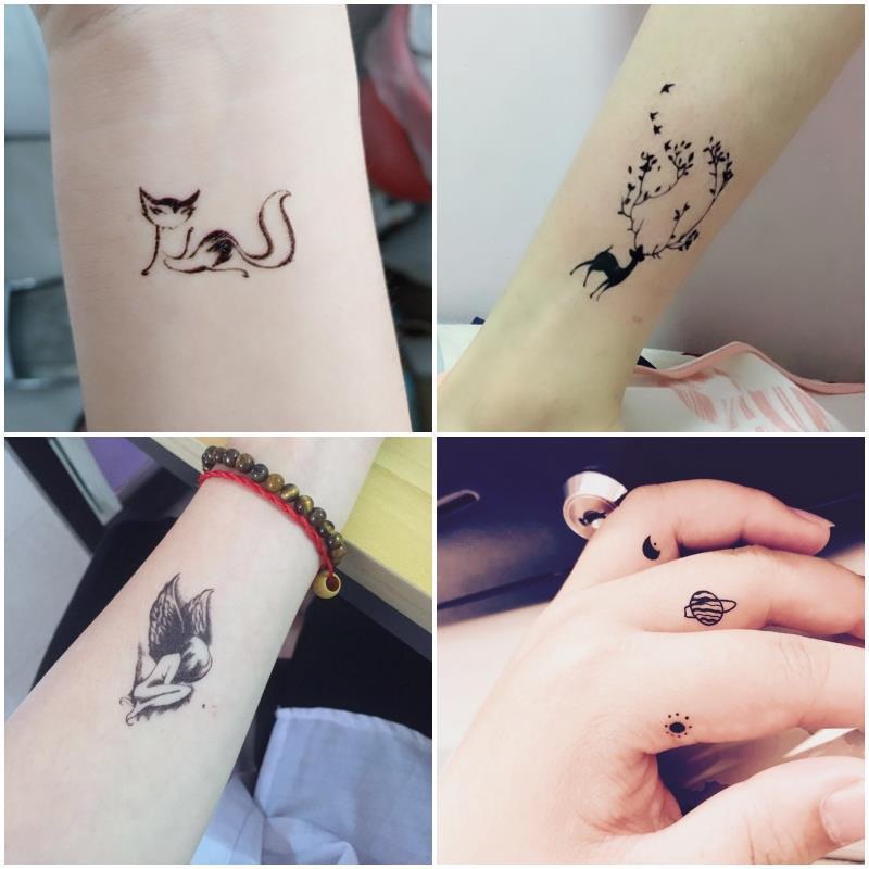 便宜的纹身贴防水男女持久仿真字母个性英文可爱花臂半永久性感纹身贴纸