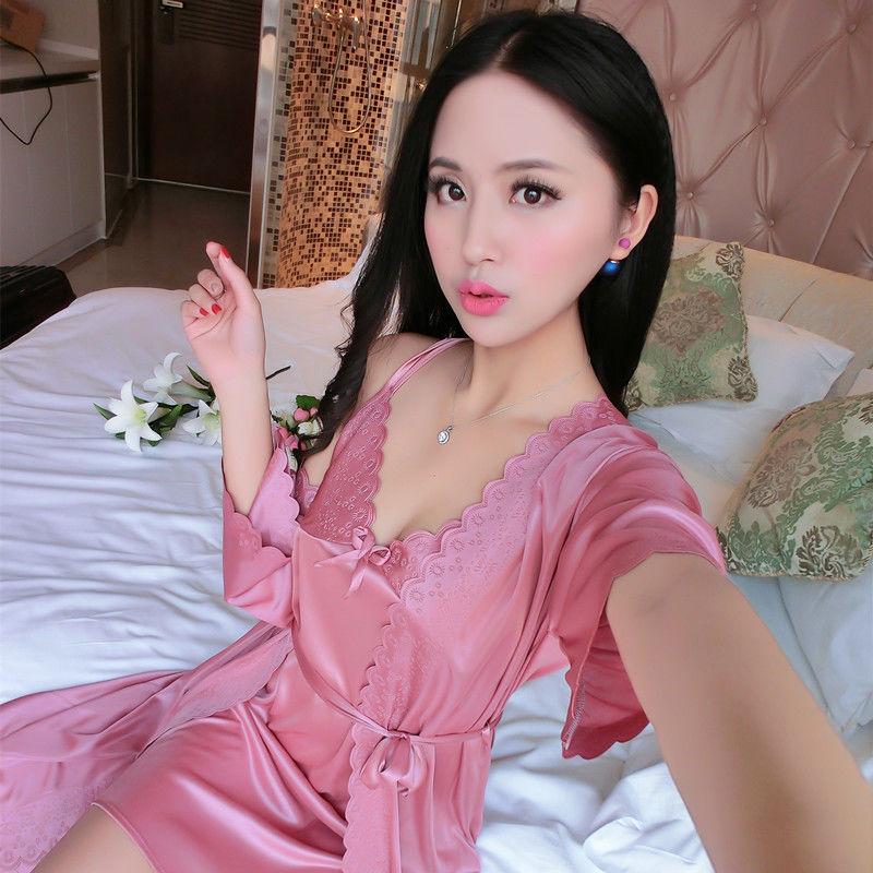 睡衣女士夏季性感短袖冰丝两件套吊带睡裙家居服两件套003#