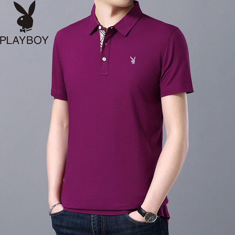 Playboy VIP Men's Short Sleeve T-shirt Polo Men's Summer New Solid Cotton Men's Polo